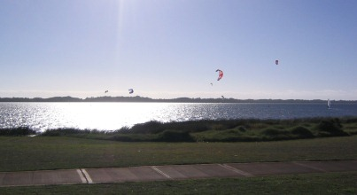 Recreational pursuits on the Estuary include kite-surfing and wind-surfing (J. Hugues-Dit-Ciles).