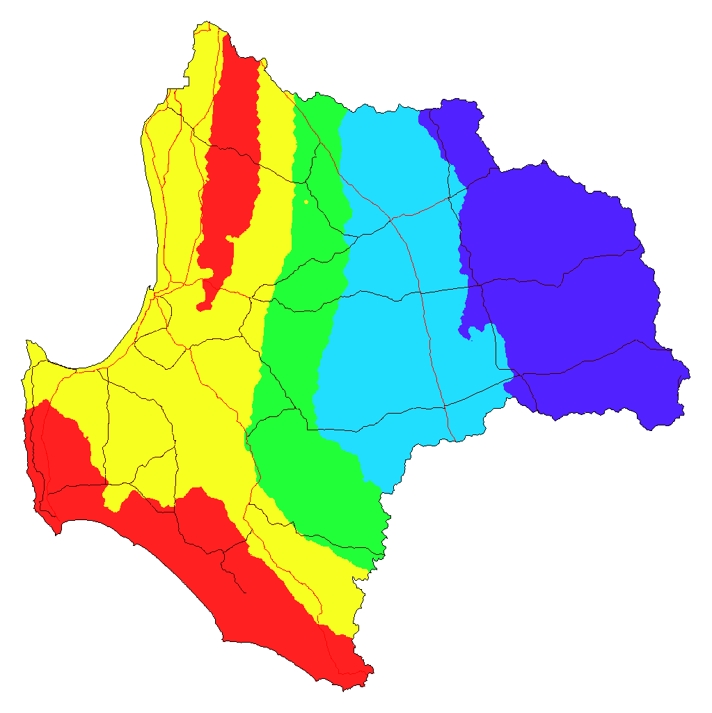 Best Case at 2090 - Annual Rainfall Change (red - loss of over 250 mm; dark blue - loss of less than 100 mm).